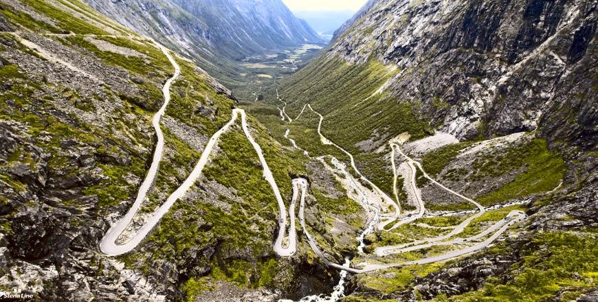ceļo ar auto, Skandināvija, iespaidīgi autoceļi, Norvēģija, kalnu ceļš, serpentīns