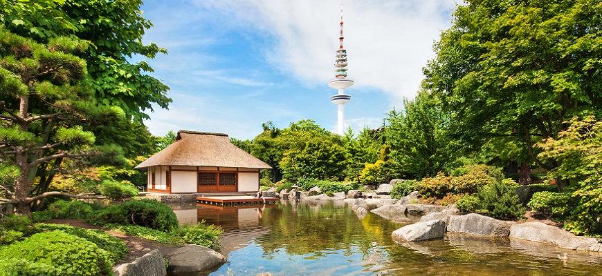 Japāņu dārzs, Hamburga, Vācija, Planten un Blomen, parks, tv tornis, Eiropa
