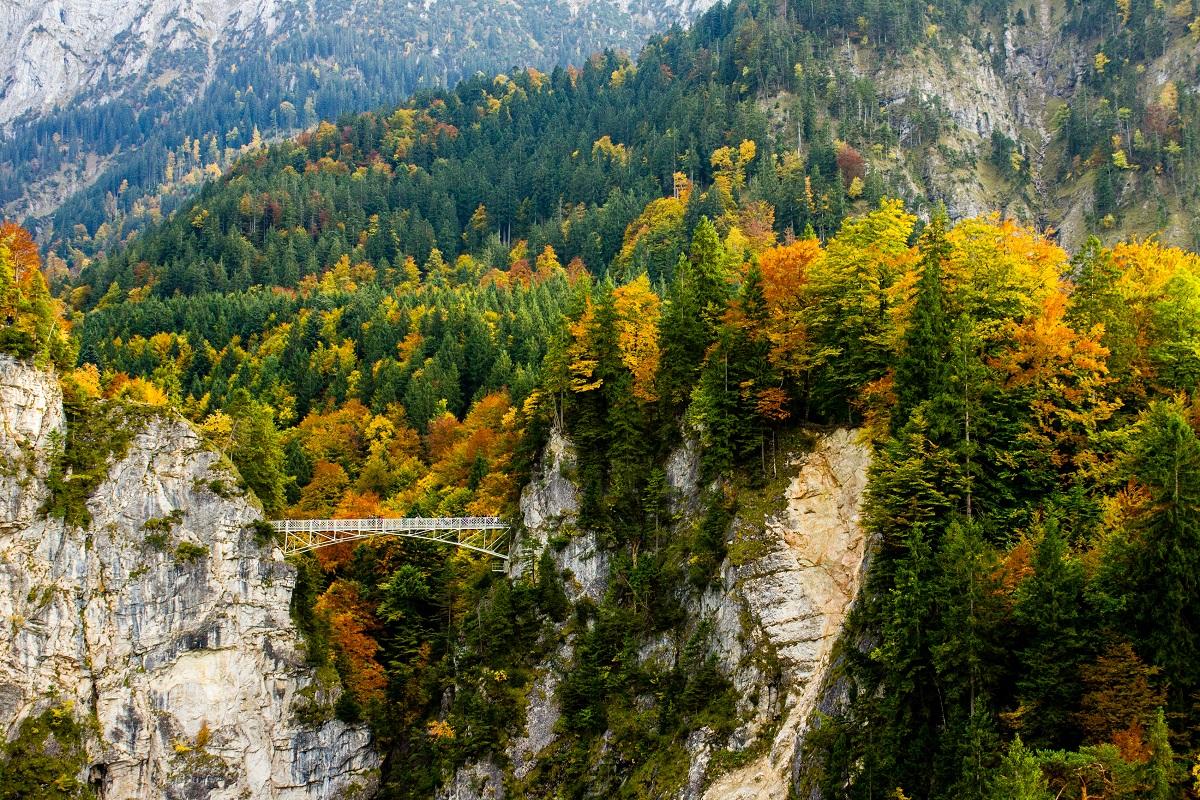 Marijas tilts, Bavārija, aiza, ūdenskritums, skaists skats, skats uz pili,